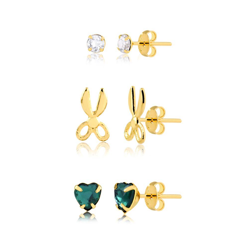 kit-de-brincos-co-tesoura-e-coracao-verde-banhado-a-ouro-18-k