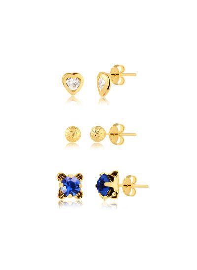 trio-de-brincos-com-pedra-em-azul-e-coracao-banhado-a-ouro-18-k