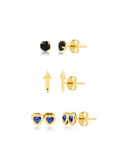 kit-de-brincos-com-flexa-e-dois-coracoes-azul-banhado-a-ouro-18k