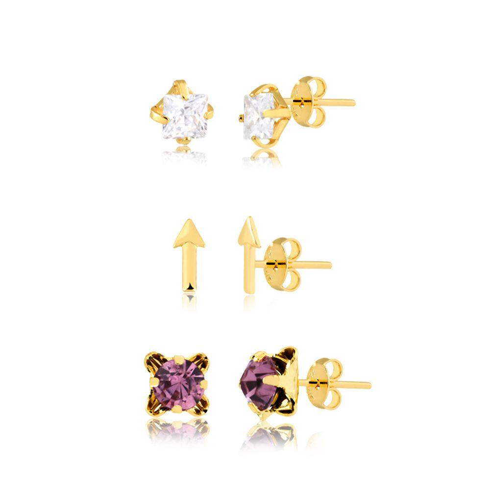 trio-de-brincos-com-pedra-lilas-flexa-e-pedra-cristal-banhado-a-ouro-18-k