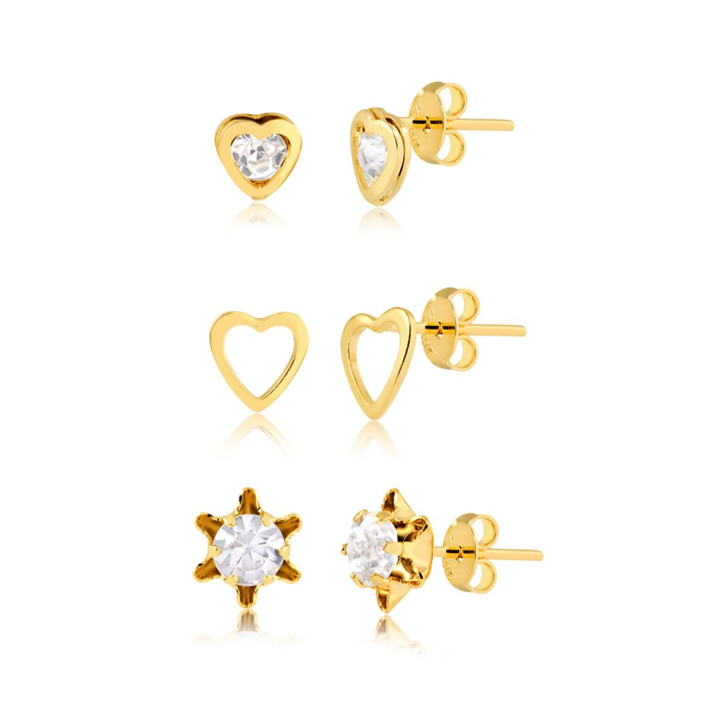 kit-de-brincos-coracoes-e-cristal-banhado-a-ouro-18-k