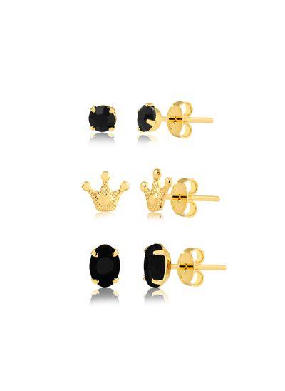 kit-de-brincos-com-pedras-pretas-e-coroa-banhado-a-ouro-18-k