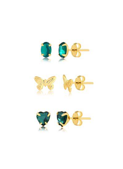 kit-de-brincos-com-pedras-verde-e-borboleta