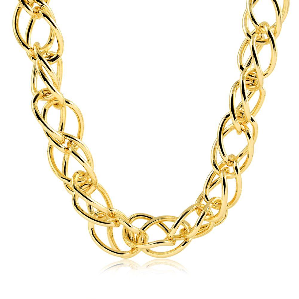 Choker-com-design-de-elos-duplos-banhada-em-ouro