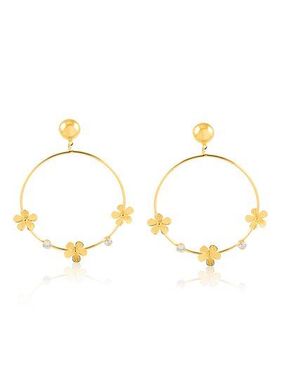 Argola-com-trio-de-flores-e-ponto-de-luz-banhado-em-ouro-18k