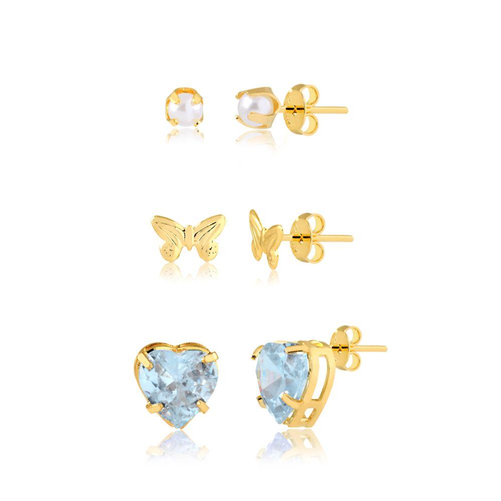 Trio-de-brincos-mini-perolas-lacinho-e-coracao-cristal-banhado-em-ouro-18k