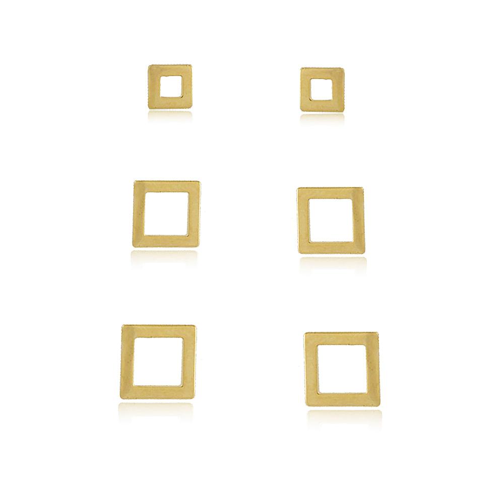 Trio-de-brincos-quadrado-vazado-banhado-em-ouro-18k