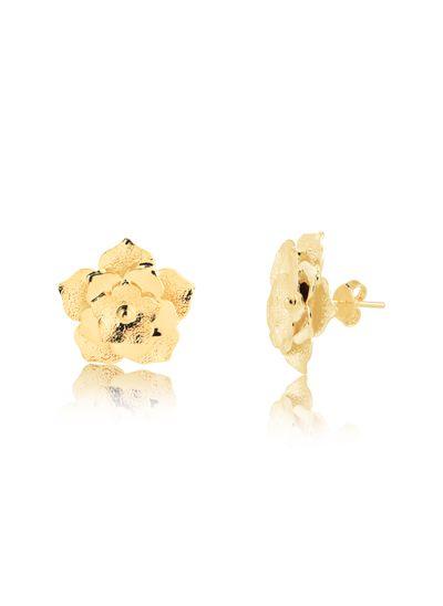 Brinco-com-flor-fosca-banhado-em-ouro-18k