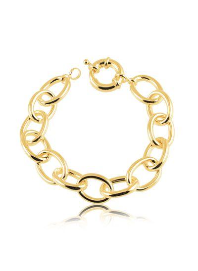 Pulseira-com-design-de-elo-grosso-banhada-em-ouro