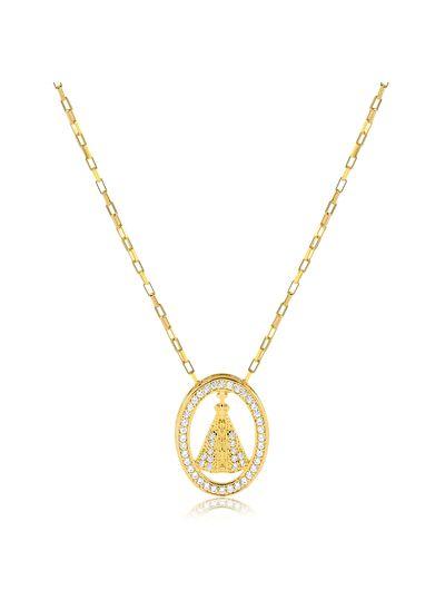 Colar-com-pingente-Nossa-Senhora-Aparecida-vazado-e-cravejado-com-zirconias-cristal-banhada-em-ouro-18k