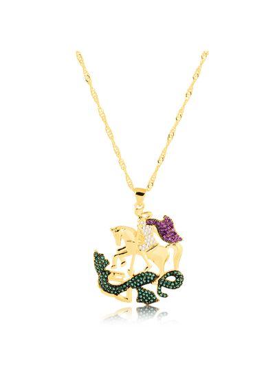 Colar-com-pingente-Sao-Jorge-cravejado-com-zirconias-rosa-verde-e-cristal-banhado-em-ouro-18k