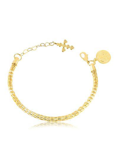 Pulseira-grossa-com-pingente-cruz-e-medalha-Sao-Bento-banhado-em-ouro-18k