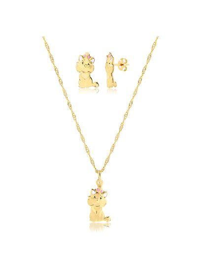 Conjunto-colar-com-brinco-gatinha-banhado-em-ouro