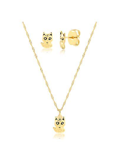Conjunto-de-colar-com-brinco-gatinho-banhado-em-ouro-18k