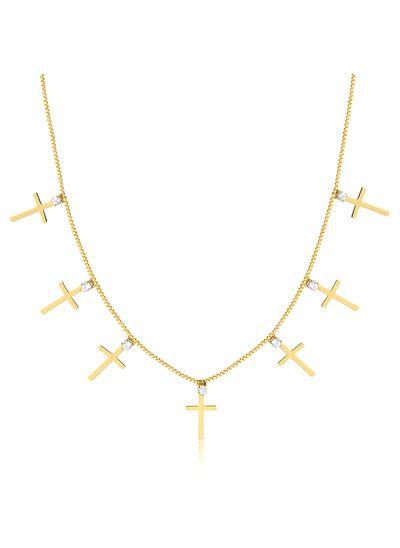 Choker-com-pingentes-em-formato-de-cruz-e-ponto-de-luz-banhado-em-ouro-18k