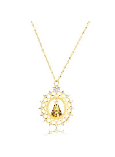 Colar-com-pingente-Nossa-Senhora-Aparecida-cravejado-com-zirconias-cristais-e-azuis-banhado-em-ouro-18k