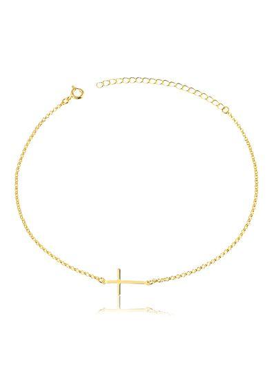 Tornozeleira-com-pingente-cruz-deitada-banhada-em-ouro-18k