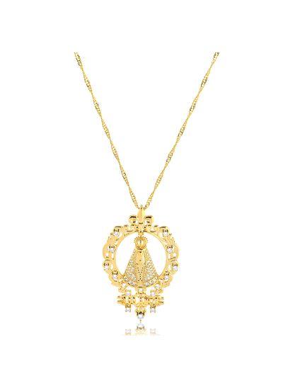 Colar-com-pingente-Nossa-Senhora-Aparecida-300-anos-cravejado-com-zirconias-cristais-banhado-em-ouro-18k