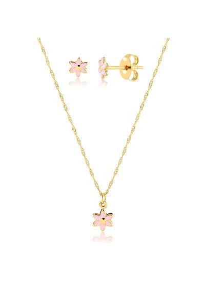 Conjunto-de-colar-com-brinco-florzinha-rosa-banhado-em-ouro-18k