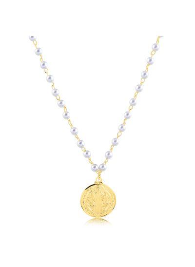 Colar-com-corrente-de-perola-e-pingente-medalha-com-Sao-Bento-banhado-em-ouro-18k