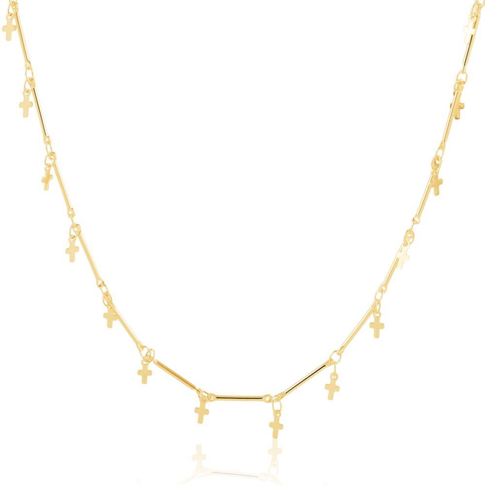 Colar-longo-repleto-de-crucifixos-banhado-em-ouro-18k