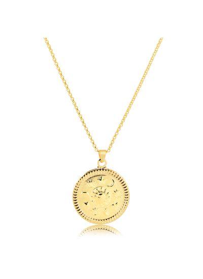 Colar-pingente-medalha-com-estrela-lua-e-sol-banhado-em-ouro-18k