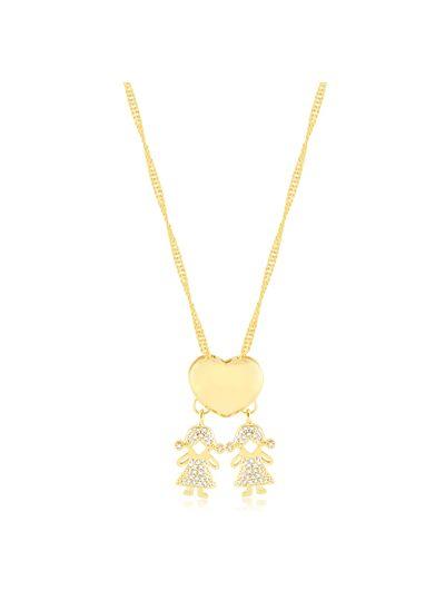 Colar-coracao-liso-e-pingente-duas-menina-cravejada-de-zirconias-banhado-em-ouro-18k