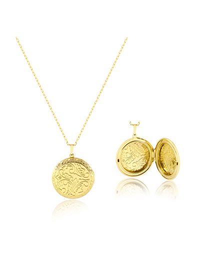 Colar-longo-com-relicario-medalhao-banhado-em-ouro